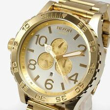 New NIXON Watch Mens 51-30 CHRONO Silver Champagne gold A083-1219 A0831219