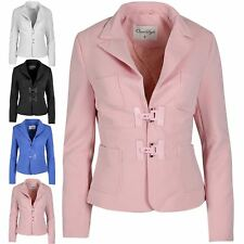 New Womens Ladies Collared Long Sleeve Waffle Pockets Buckle Blazer Jacket Top