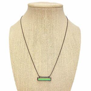 Designer SIGNED Kendra Scott LEANOR Gunmetal Dichroic Glass Bar Pendant Necklace