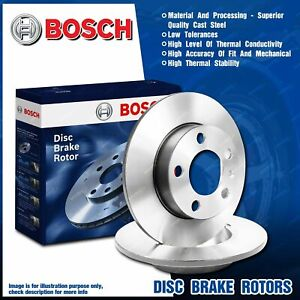 Pair Rear Bosch Disc Brake Rotors for Volkswagen Beetle Caddy EOS Jetta Scirocco