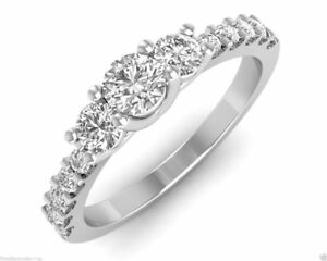 10K White Gold Over 1.65 Ct Round Cut Diamond Ladies Wedding Engagement Ring
