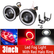 """2X 3"""" Inch Car Round Projector LED Fog Light Red COB Halo Angel Eye Ring Bulb"""