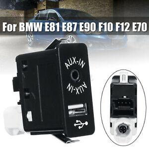 Car USB AUX Auxiliary Input Socket For BMW E90 F10 F12 E70 E81 E87