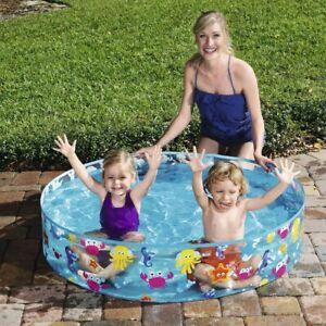 "Paddling Pool Rigid Wall Snapset Kids Childrens Swimming Play Garden 48"" x 10"""