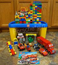 HUGE LOT OF 640 LEGO DUPLO BRICKS WINDOWS PEOPLE TABLE DISNEY CARS McQUEEN RACE