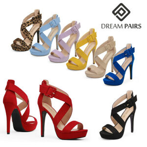 DREAM PAIRS Women Open Toe Stilettos High Heel Party Platform Heel Sandals