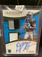 2018 Panini Immaculate DJ Moore RC Relic On Card Auto #' 57/99 Carolina Panthers