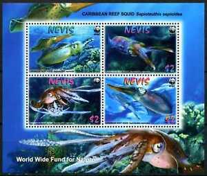 2009 Nevis, Reef Squid, WWF,  souvenir sheet, MNH