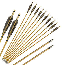 """31"""" Archery Hunting Practice Wood Arrows Field Points Recurve Bow Longbow 24 Pcs"""