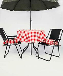 Round Check Gingham Polyester TABLE CLOTH with Metal ring for umbrella/parasol