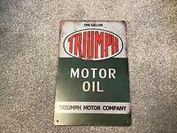 VINTAGE RETRO STYLE METAL TIN SIGN POSTER TRIUMPH MOTOR OIL MOTORBIKE MAN CAVE