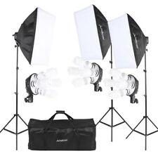 Photograpy Studio Video Light Lighting 12 Bulbs 3 Softbox Tripod Stand Kit S7E3
