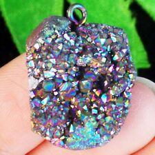 Rainbow Titanium Crystal Agate Druzy Quartz Geode Pendant Bead Q38913