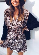 UK Women Long Sleeve Leopard Print Mini Dress V Neck Party Club Wear Wrap Dress
