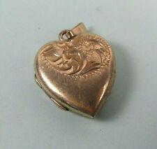 Vintage Rolled Gold Etched Heart Shaped Locket