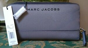 Marc Jacobs Shadey Grey Taille Zip Around Coin Card Wallet Women, NEW with tags