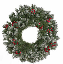 60cm Frosted Green Christmas Party Berries Wreath Door Wall Decoration