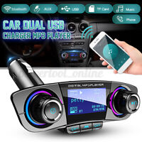 Bluetooth Inalámbrico Transmisor Fm Aux Manos Libres MP3 Reproductor Dual LED