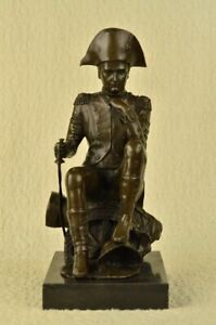 LRG Bronze & Marble Base Sculpture of Napoleon Bonaparte Sword Figure Statue Art