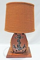 Vintage Mid Century 1950's Wood Rope Nautical Boat Pulley Anchor Lamp #2008