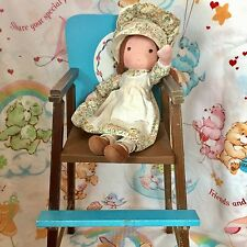 Vintage Knickerbocker The Original Holly Hobbie Rag Doll & High Chair Lot 1970s