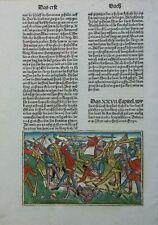 BIBEL BIBLIA GERMANICA INKUNABELBLATT KOLORIERT 9. DEUTSCHE BIBEL KOBERGER 1483