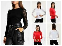 Womens Lace Sleeve Ladies Puff Sleeve Plain Casual T-Shirt Ladies Round Neck Top