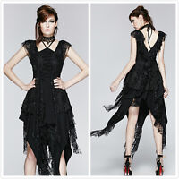 Punk-Rave Q-248 Black Gothic Rock Sexy Micro-elastic Lace Sleeveless Dress