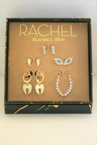 Rachel Roy gold tone crystal stud evil eye, wings, leaf 5 Pair earrings