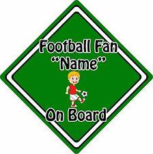 Personalised Football Fan On Board Car Sign ~ Baby On Board ~ Blonde Boy Green