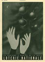 Publicité ancienne loterie nationale 1941 issue de magazine