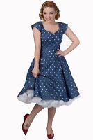 Women's Denim Hearts Polka Dots Retro Rockabilly 50's Dress By Banned Apparel