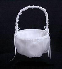 "White Organza Cover Rose Pattern Design Flower Girl Basket . 7.5 "" Height."
