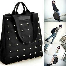 Womens Canvas Punk Rock Style Shoulder Bags Lady Rivet Handbag Tote Black