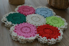 "Lot 4 Crochet 10"" Doilies French Country Assorted Colors Ornaments Coasters"