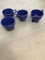 Fiesta Original Cobalt Blue Fiestaware Vintage Tea Cups, Creamer & Sugar Set