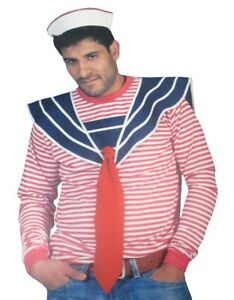 Adult Navy Blue Sailor Shirt Collar Red Tie Anime Cosplay Pride Accessory