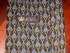 PAOLO GUCCI ITALY SILK HAND FINISHED  NECK TIE BLACK BLUE GOLD