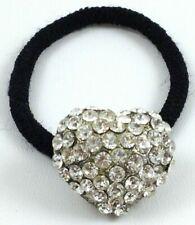 Big Multi Chrystal Heart Ponytail Holder Black Band Hair Accessory 1 Inch