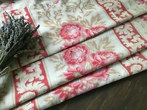 Antique19th C. French Floral & Stripe Cotton fabric Pink Roses Shabby Chic