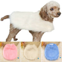 Solid Fashionable Puppy Pet Dog Coat with Full Fake Fur Comfy Pink Blue Beige