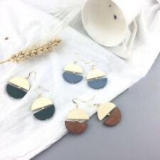 Fashion Hook Earrings Women Wood Circle Geometric Drop Dangle Earrings Jewelry H