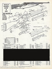 1995 MARLIN 444SS,444S,444 Lever RIFLE Schematic Exploded View Parts List AD