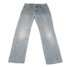 Levis 505 Jeans Mens Size 34x30 Blue Regular Straight Leg Light Wash Distressed