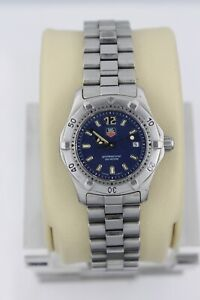 Tag Heuer 2000 WK1313 Blue Classic Professional SS Watch Womens Mint Crystal