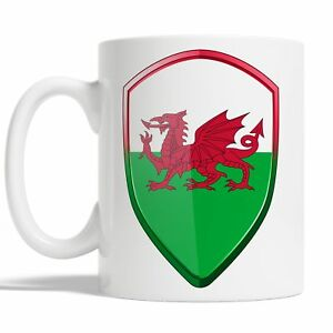 Welsh Flag Mug Coffee Cup Gift Idea Sports 6 Nations Wales Rugby Badge JA117