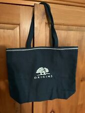 """NAVY BLUE CANVAS TOTE BAG ORIGINS Cosmetics NEW12"""" X 15"""" Awesome Quality"""