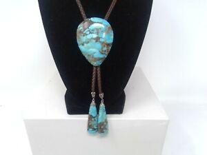 Vintage Bennett Bolo Tie With Turquoise Stones & Leather