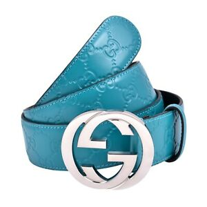Gucci Signature Teal Leather Belt SILVER buckle SIZE 38 100 % AUTHENTIC