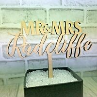Personalised Mr & Mrs Wedding Cake Topper Wooden Silver Gold